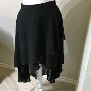 Forever 21 High Low Black Skirt sheer Lined sz S